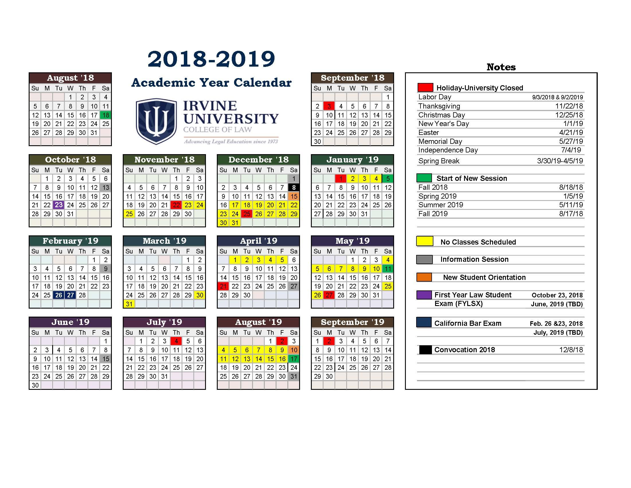 Irvine University Academic Calendar For Irvine College Of Law