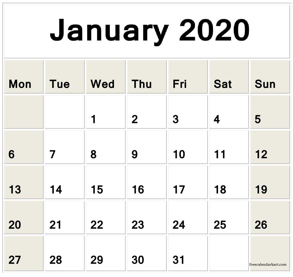 Jan 2020 Calendar Printable Planner - Latest Printable