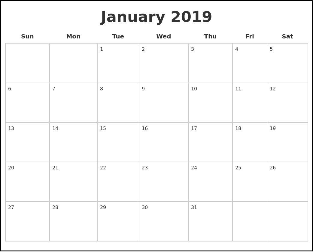 January 2019 Blank Calendar   Free Printable Calendar
