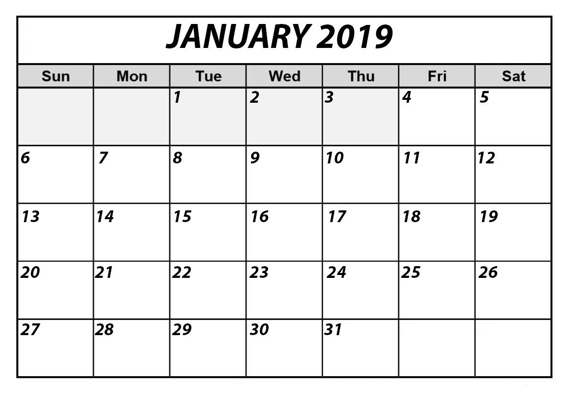 January 2019 Calendar Bold Template | Free Printable