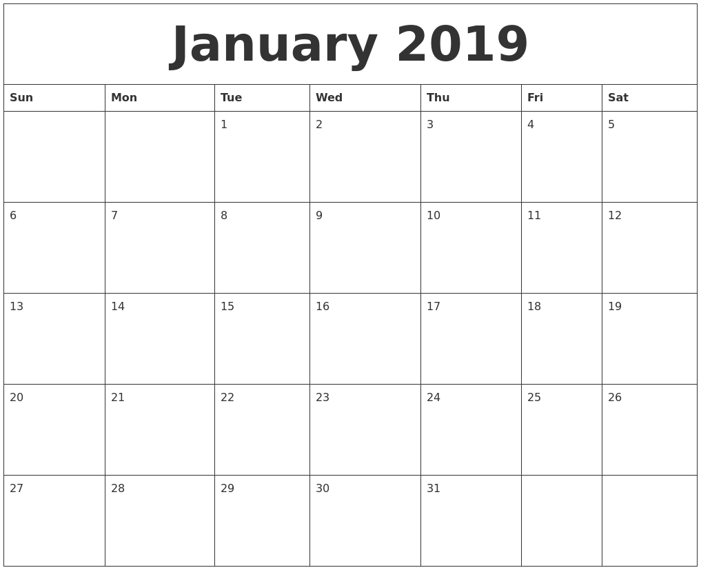 January 2019 Calendar For Vertical Template | Free Printable