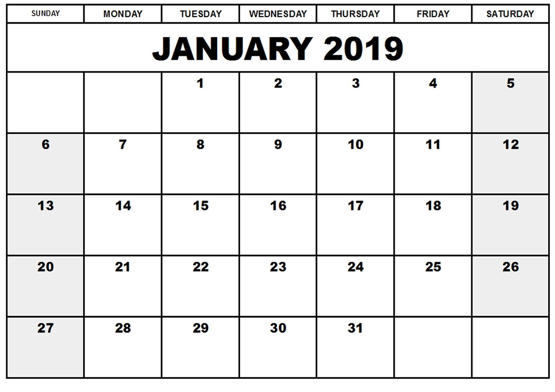 January 2019 Calendar Printable Template #printablecalendar