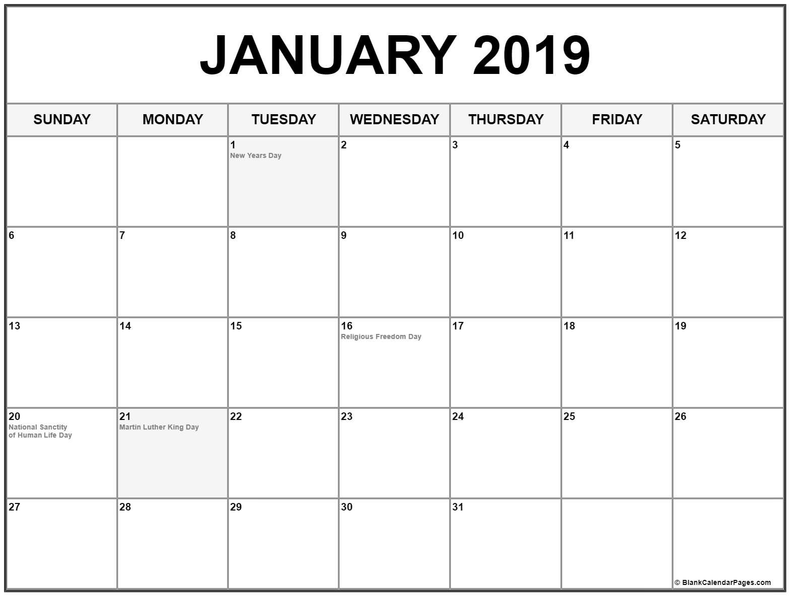 January 2019 Calendar With Holidays | August Calendar