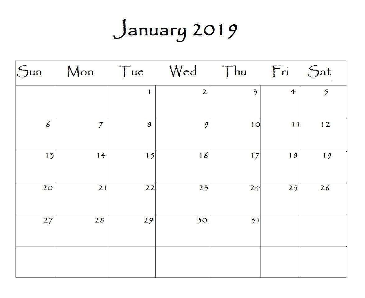 January 2019 Calendar Word #2019 #2019Calendar #word