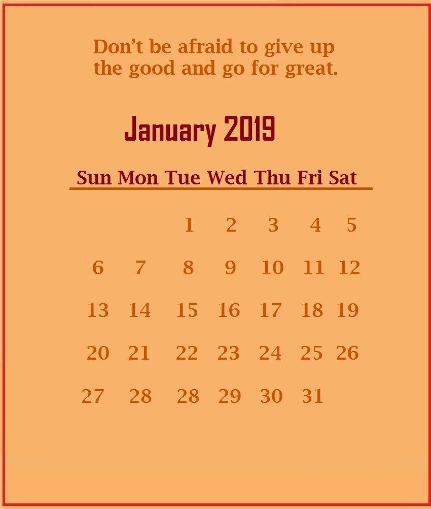 January 2019 Motivational Quotes Calendar Template