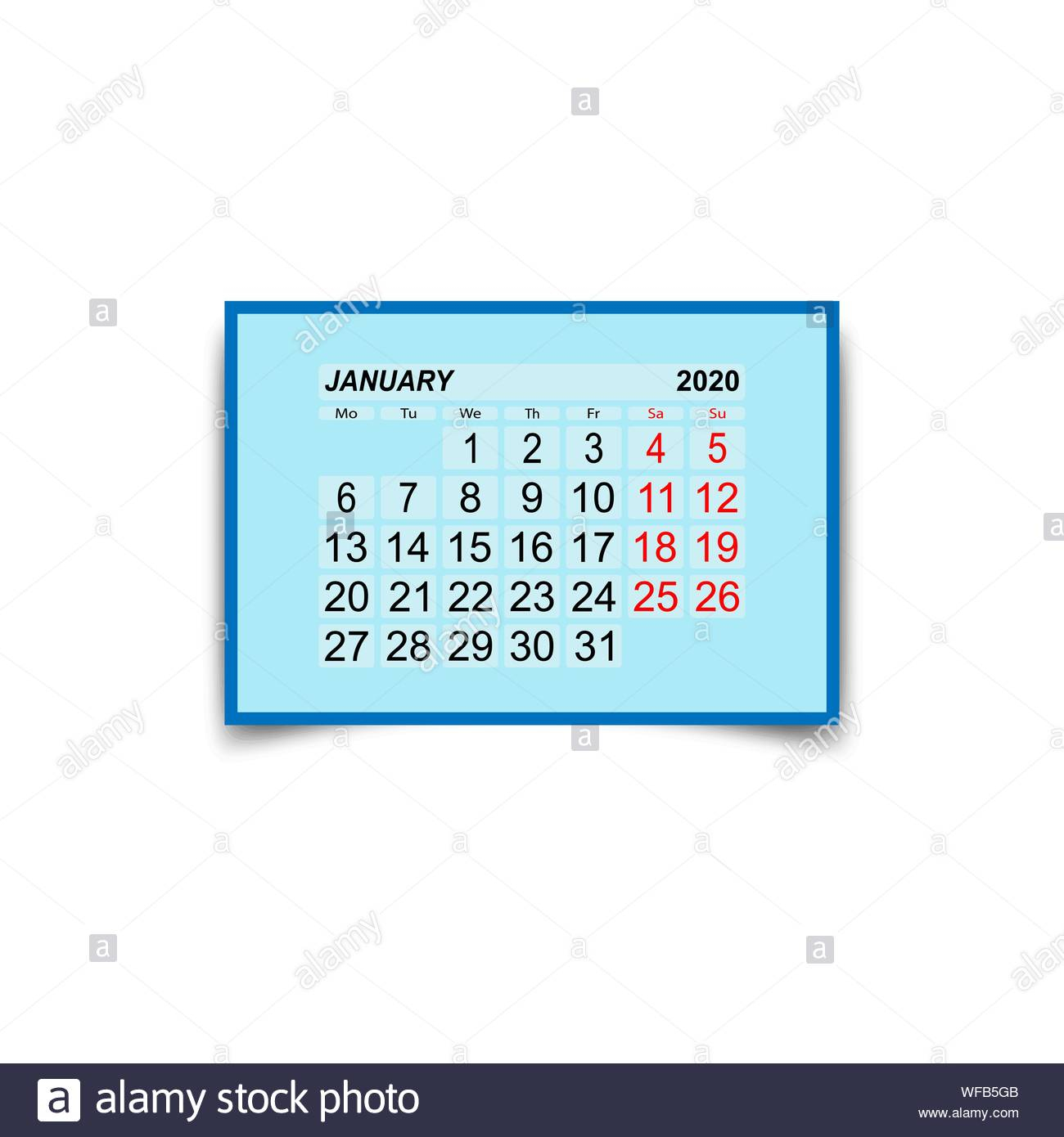 January 2020. A Calendar Sheet With Two Days Off Per Week