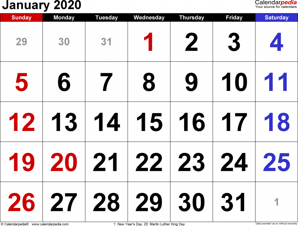 January 2020 Calendar | 2020 Yearly Calendar Template Download!!