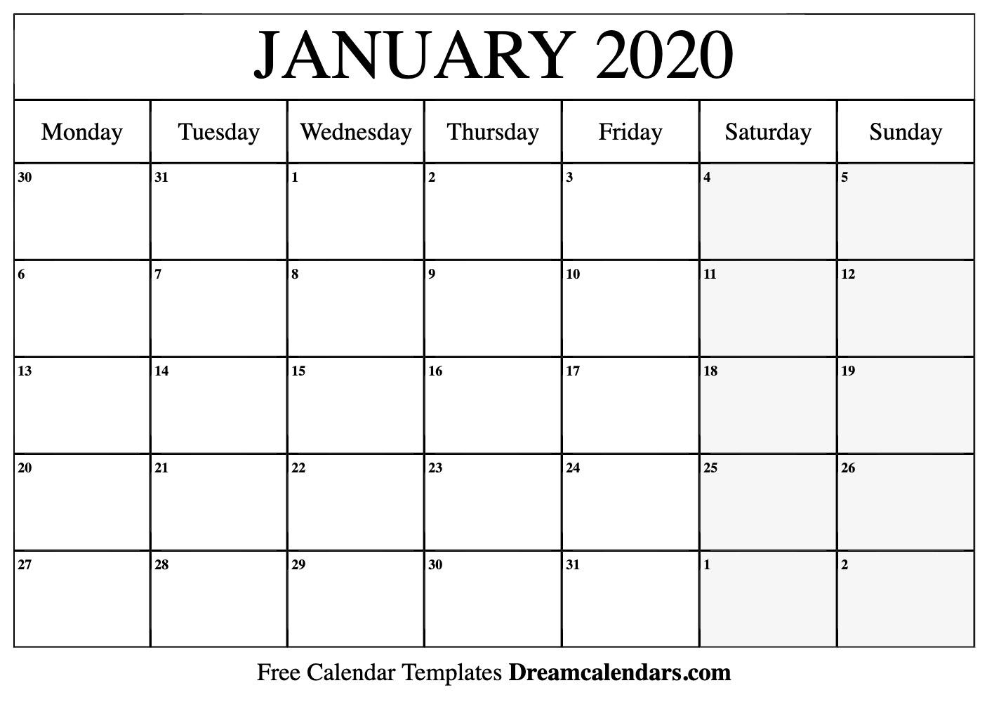 January 2020 Calendar Editable - Wpa.wpart.co