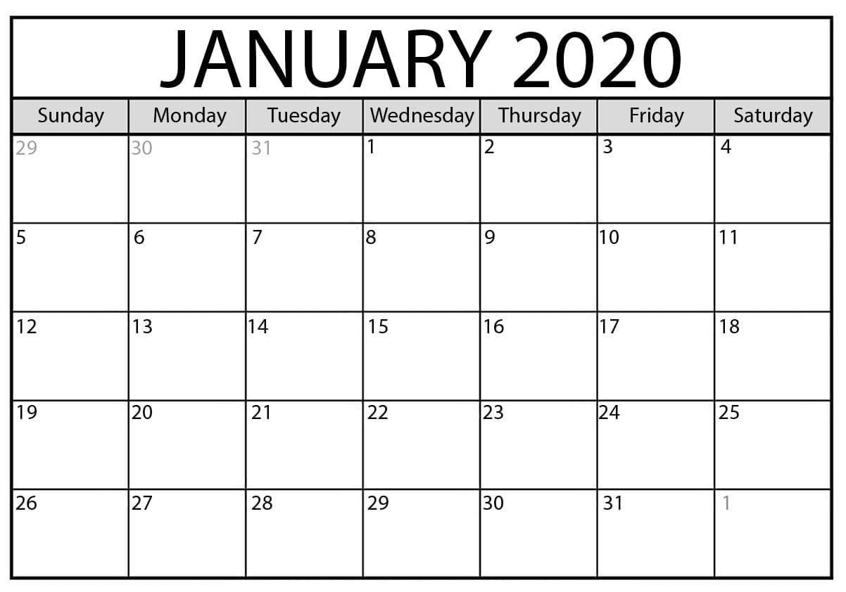 January 2020 Calendar Excel Printable Worksheet - 2019