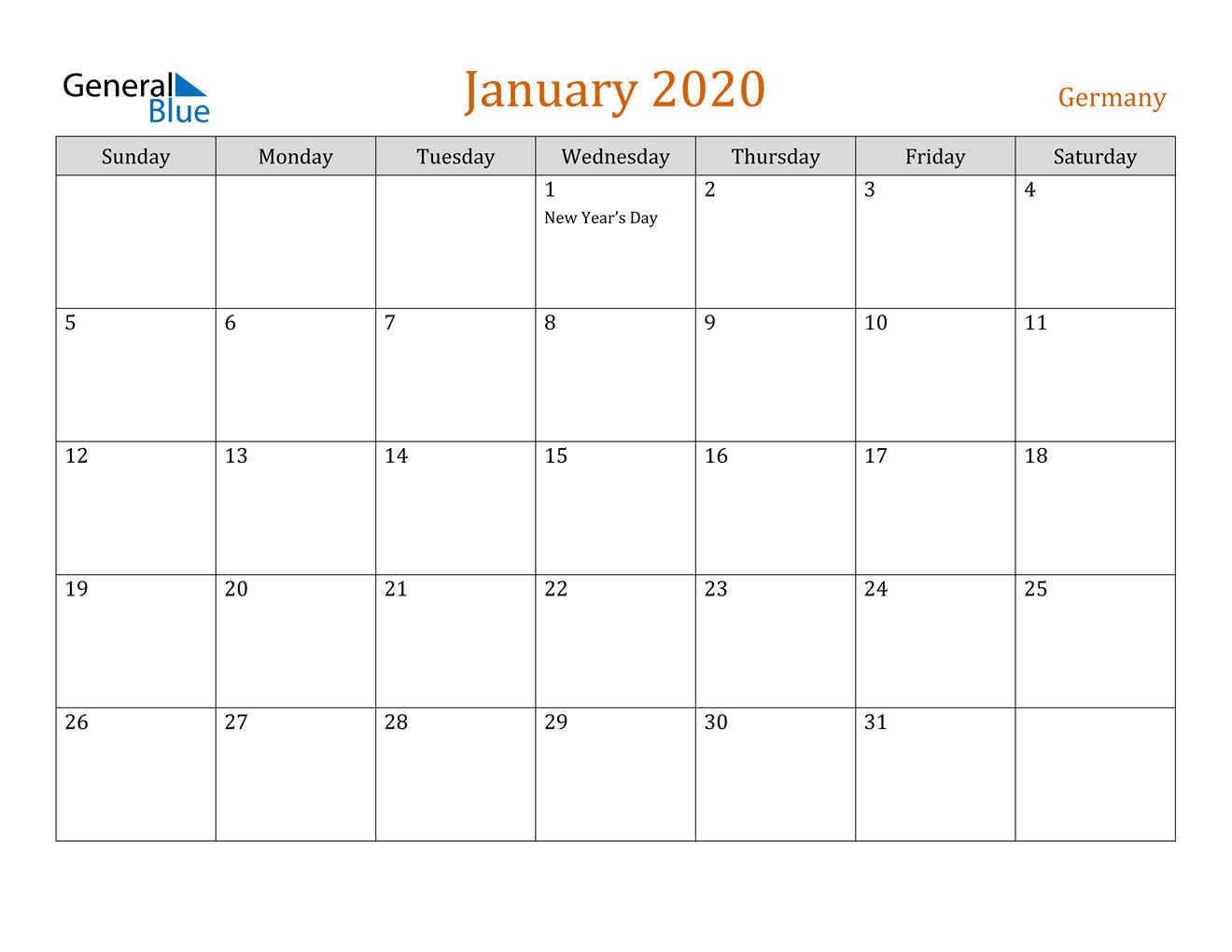 January 2020 Calendar - Germany