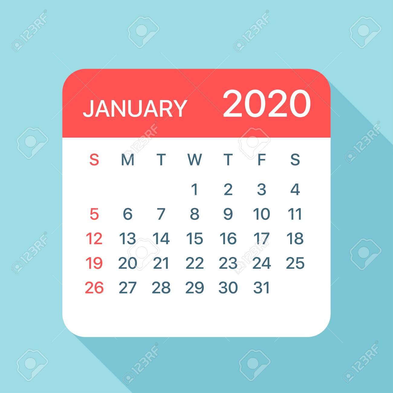 January 2020 Calendar Leaf - Illustration. Vector Graphic Page