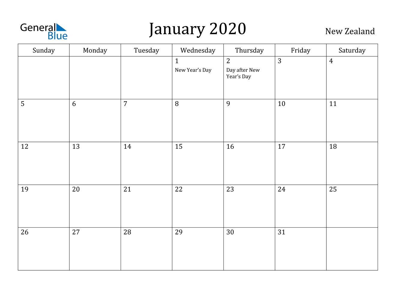 January 2020 Calendar - New Zealand