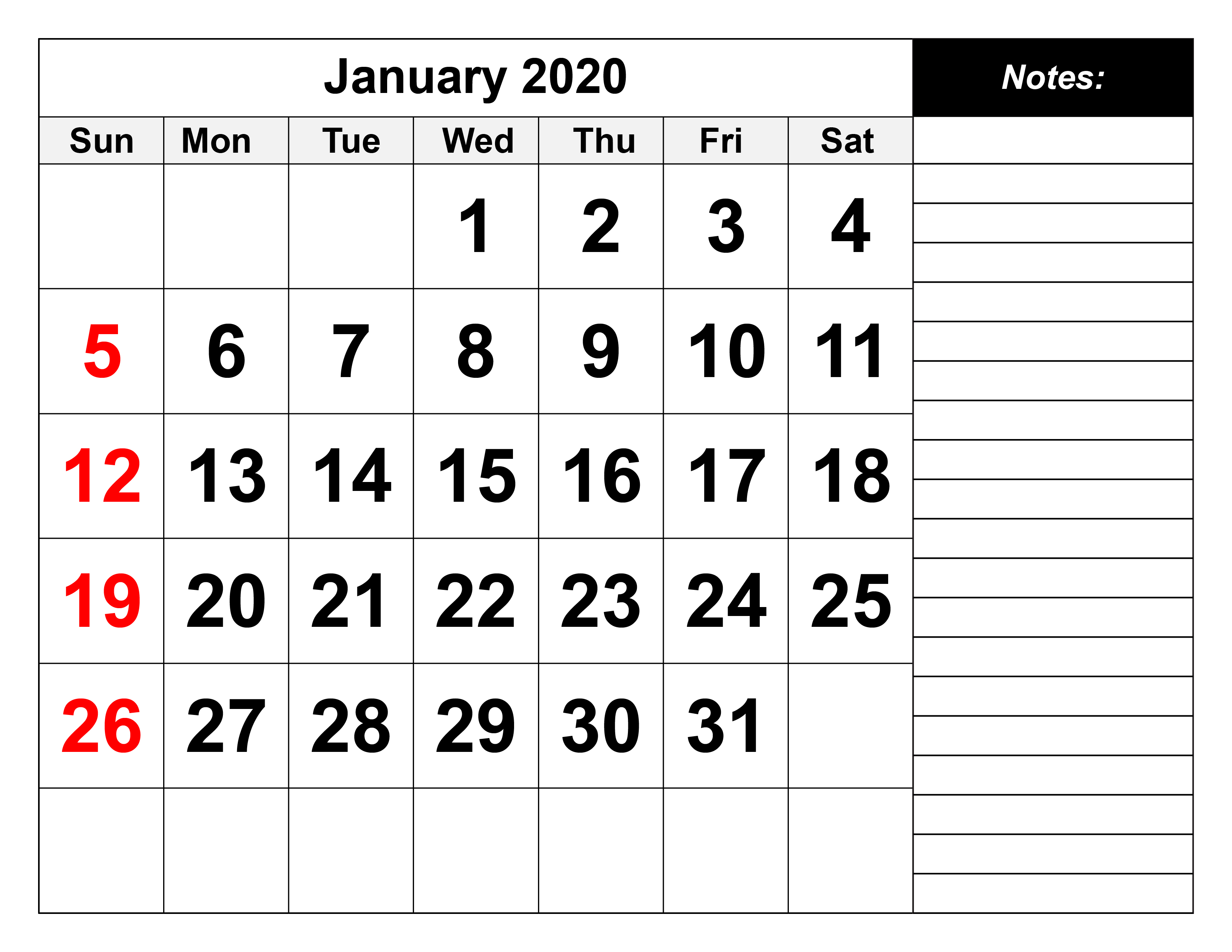 January 2020 Calendar Of Public Holidays | Office Holidays