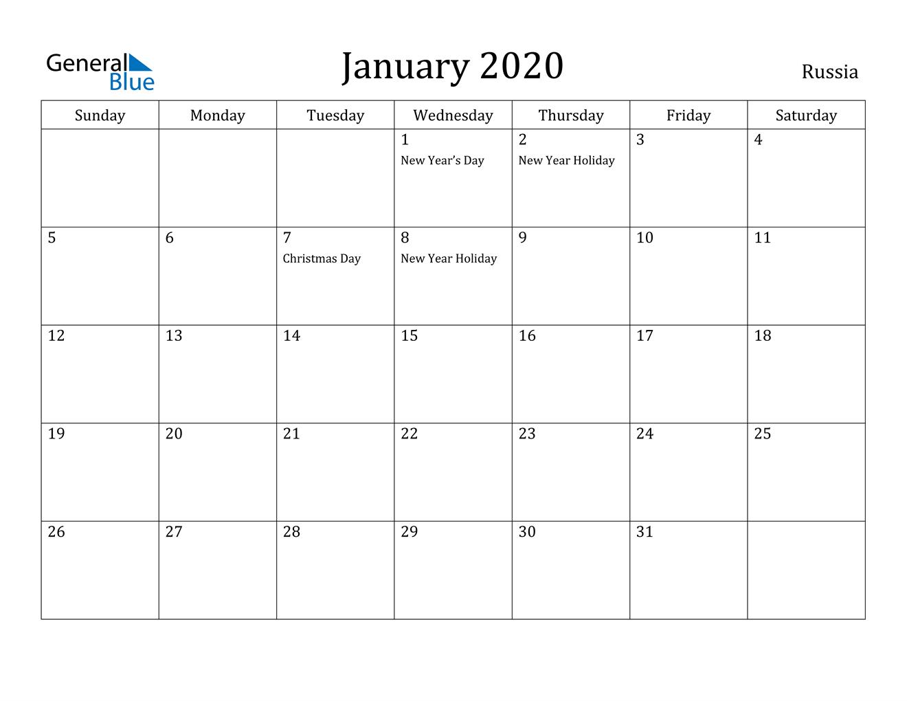 January 2020 Calendar - Russia