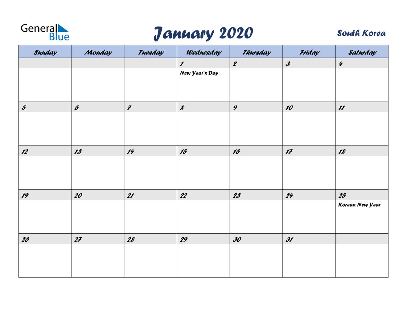 January 2020 Calendar - South Korea