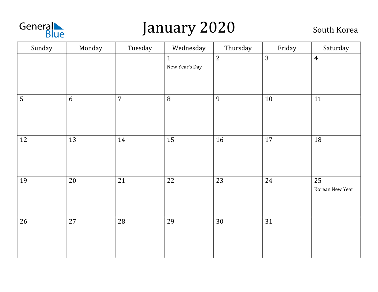 January 2020 Calendar - South Korea