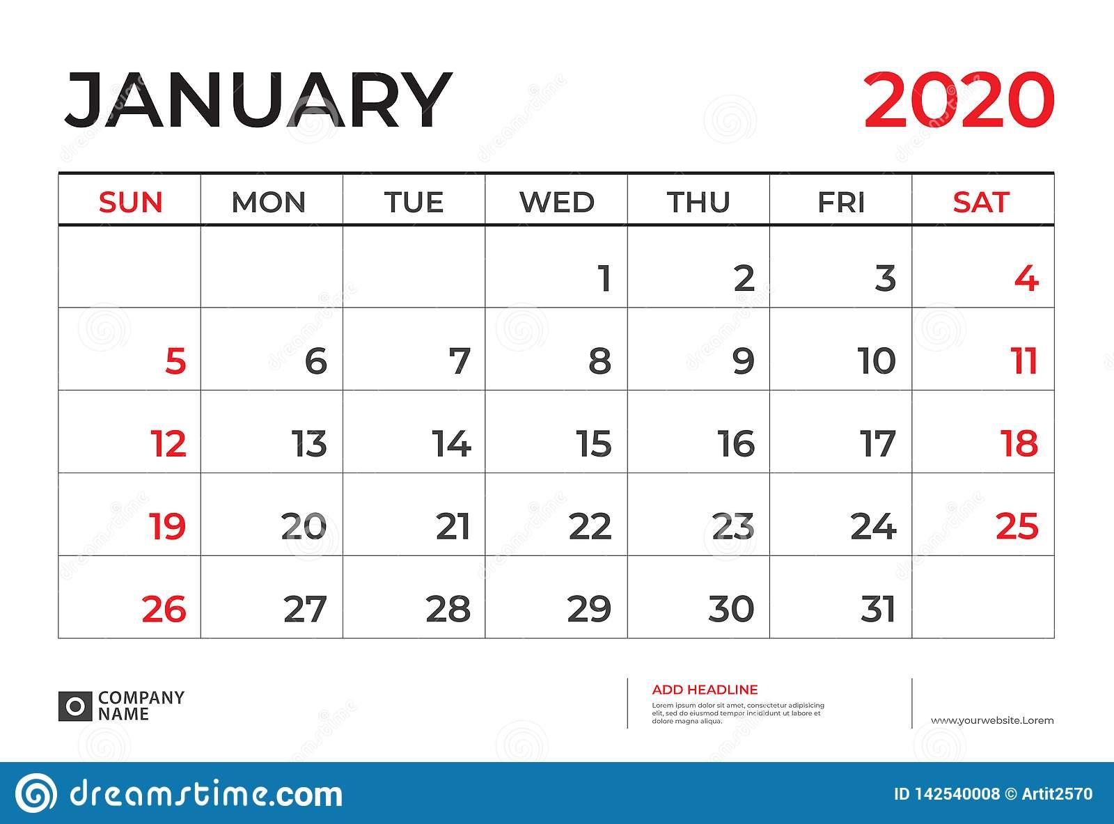January 2020 Calendar Template, Desk Calendar Layout Size
