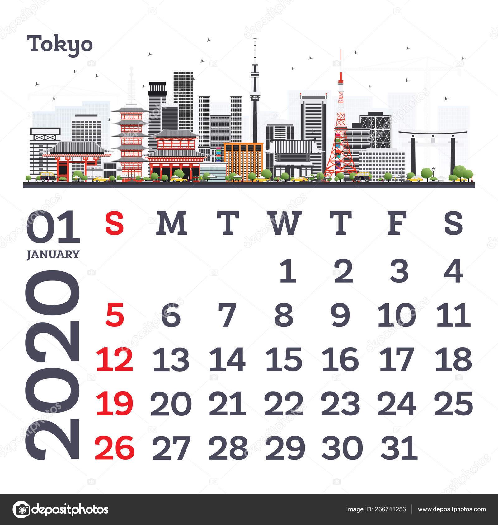 January 2020 Calendar Template With Tokyo City Skyline