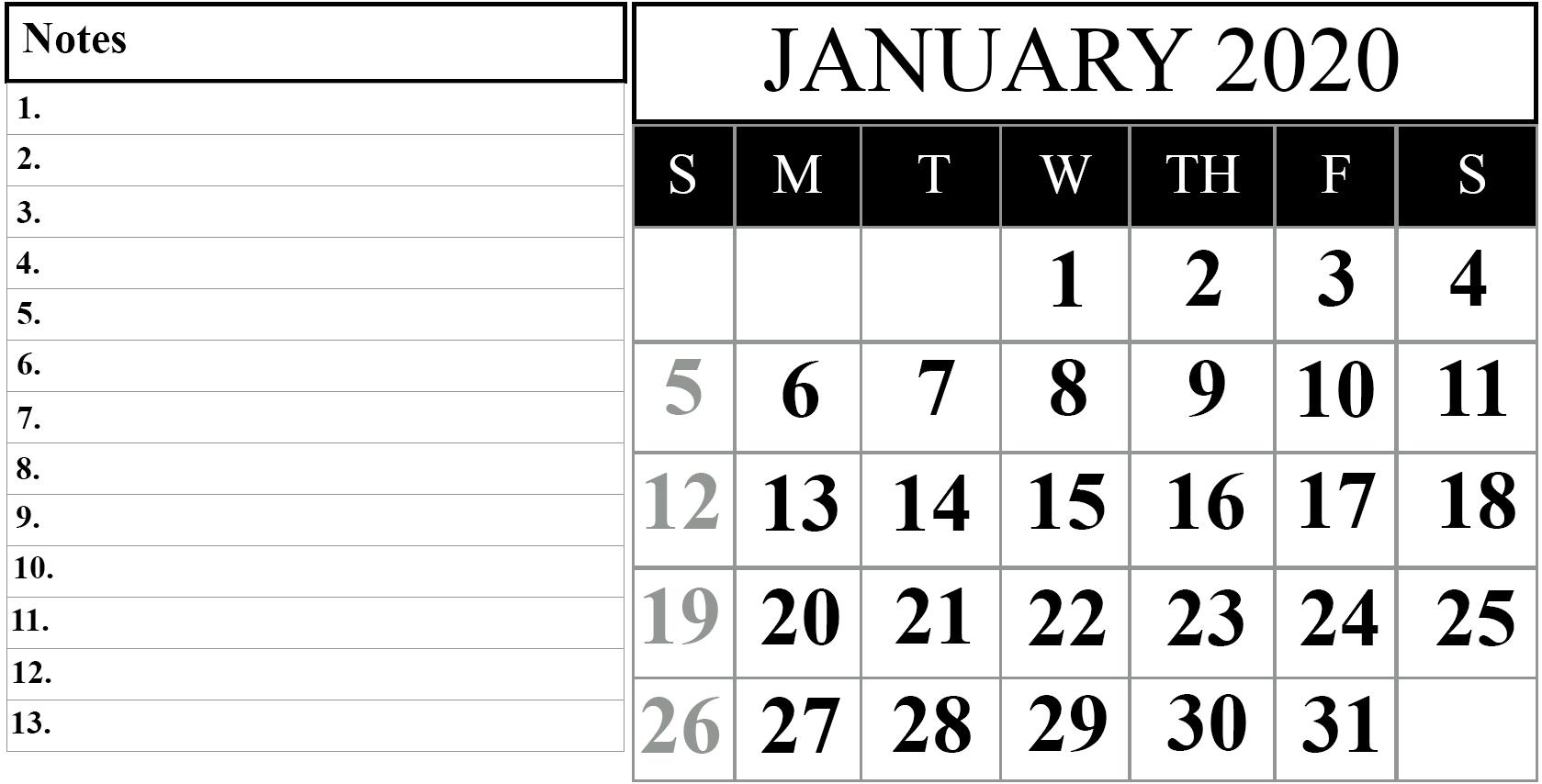 January 2020 Calendar With Notes #january #january2020