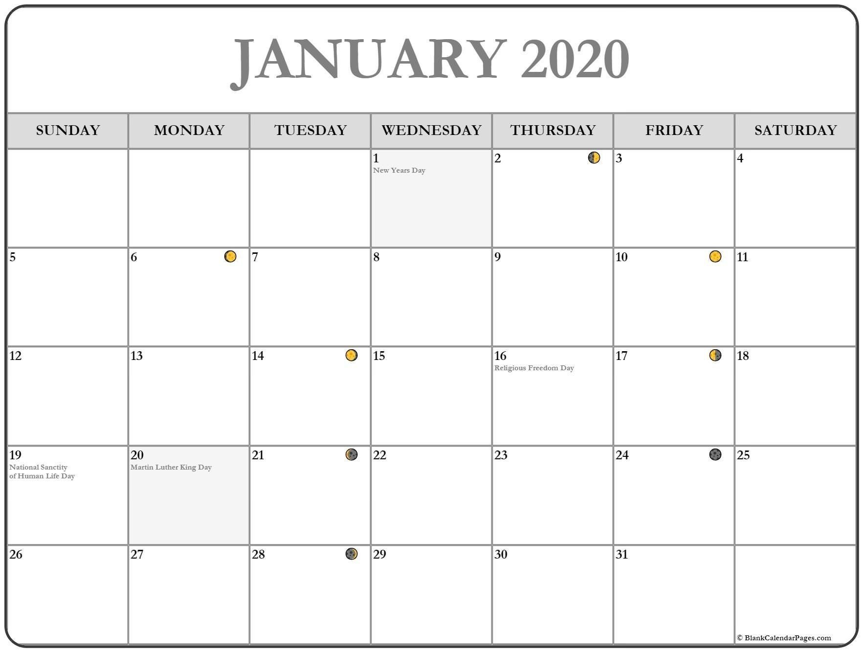 January 2020 Lunar Calendar