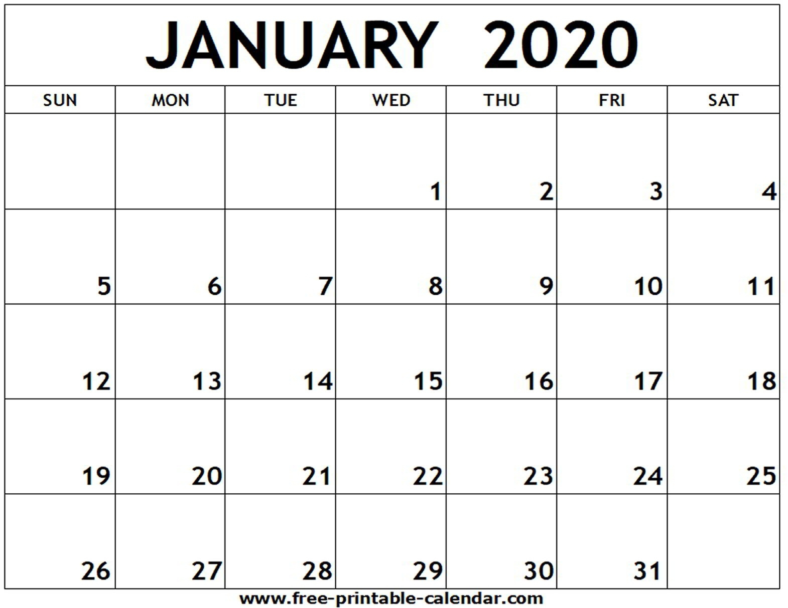 January 2020 Printable Calendar – Free-Printable-Calendar