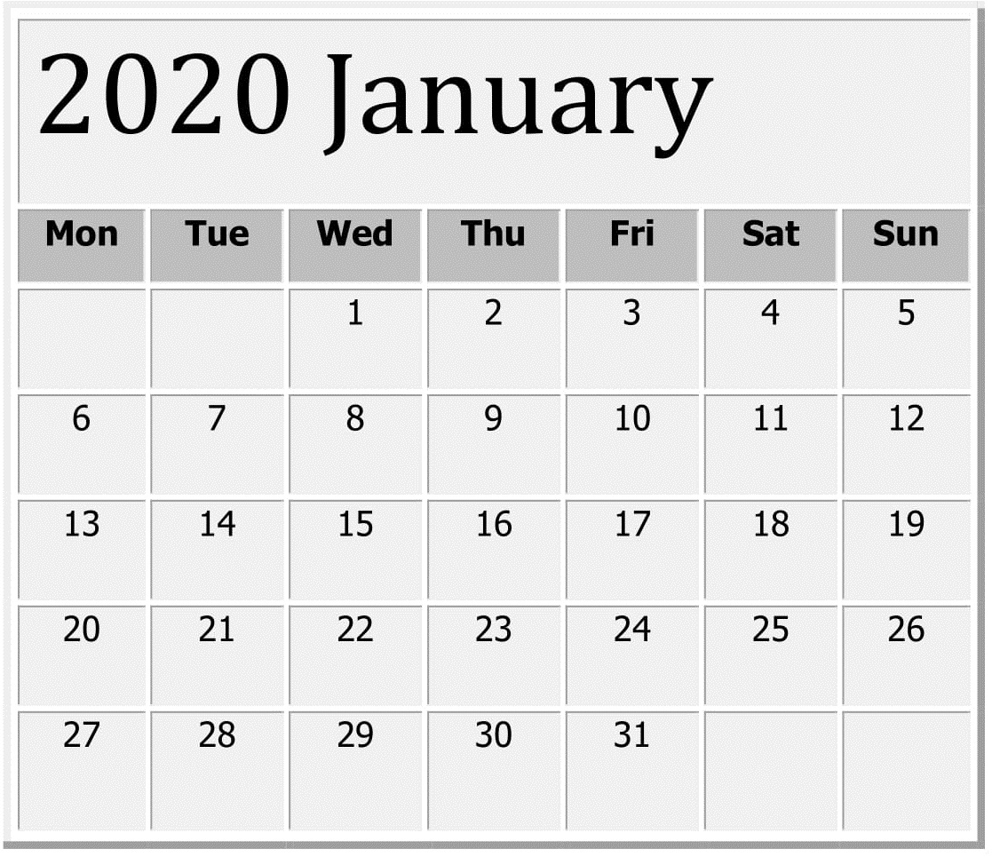 Printable January 2020 Calendar: Calendar Printables Free Templates