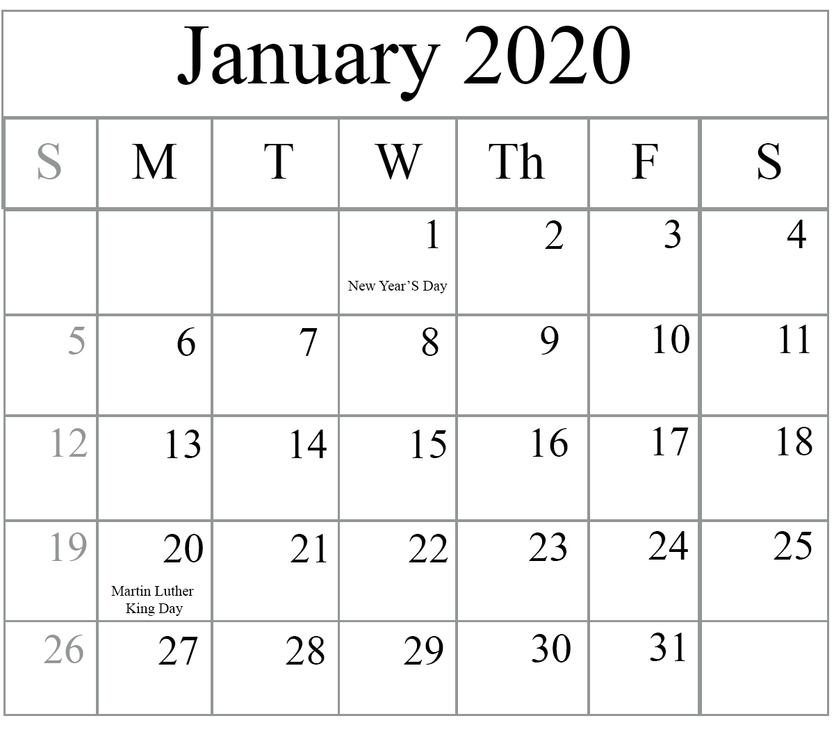 January 2020 Printable Calendar | Printable March Calendar