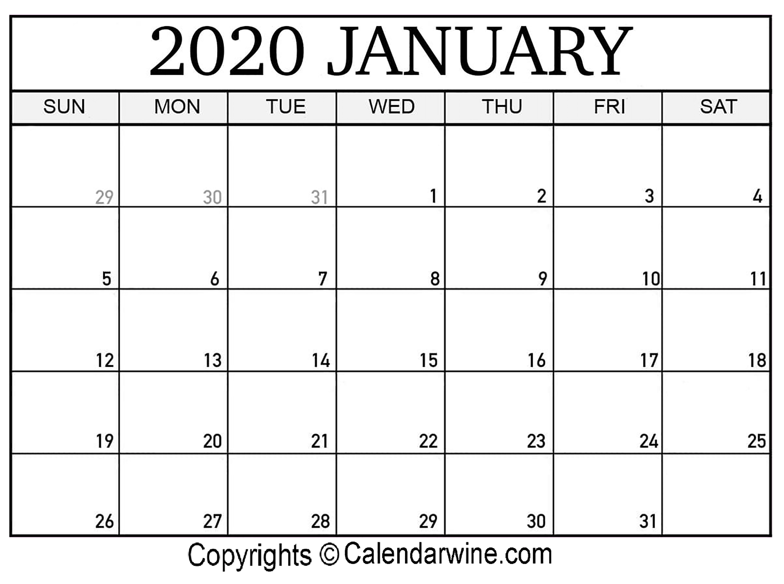 January 2020 Printable Calendar Templates | Calendar Wine