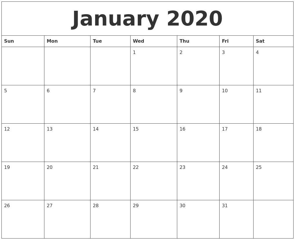 January 2020 Printable Daily Calendar