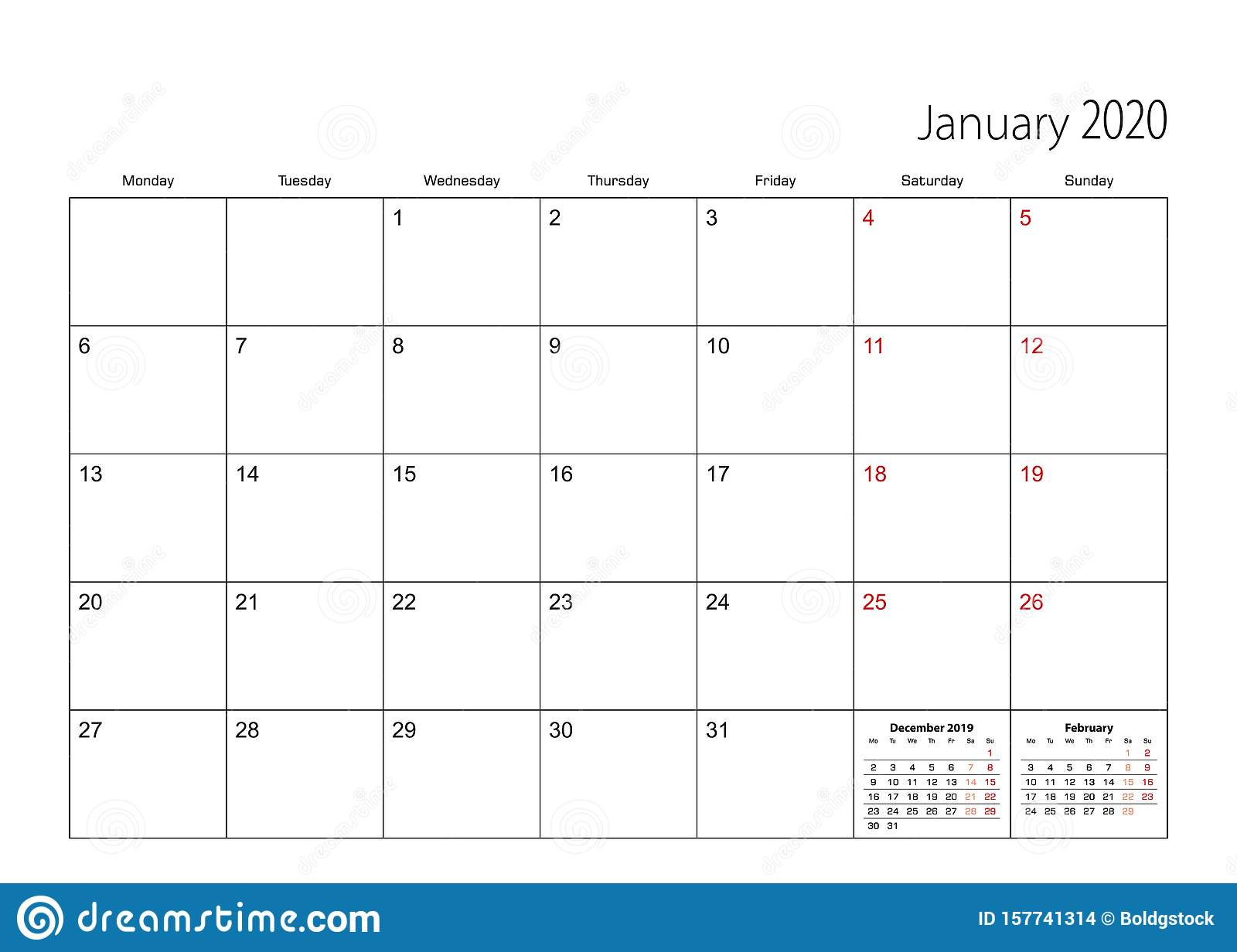 January 2020 Simple Calendar Planner, Week Starts From