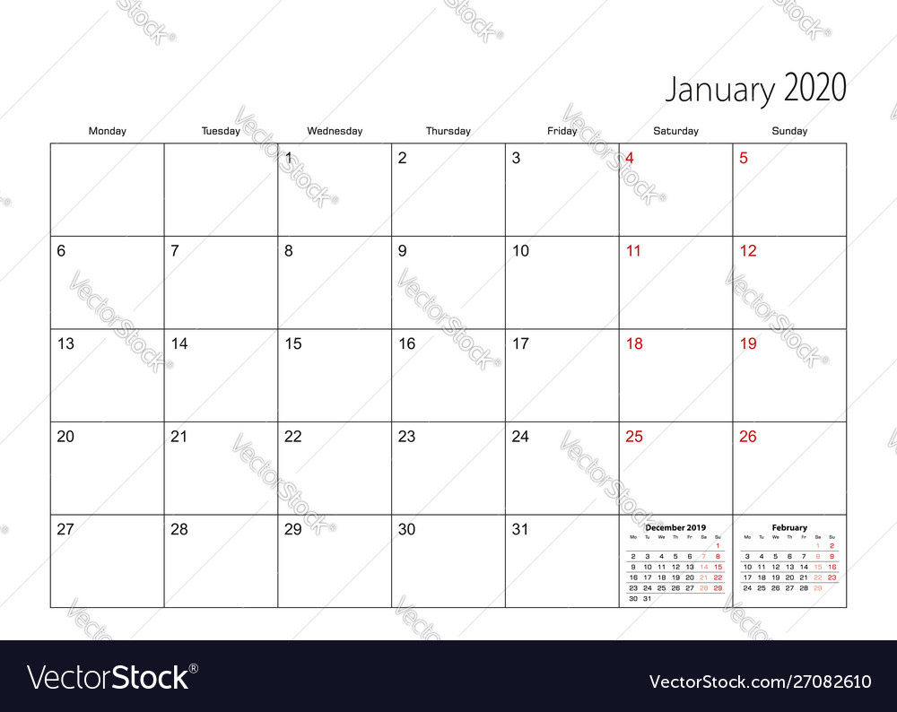 January 2020 Simple Calendar Planner Week Starts