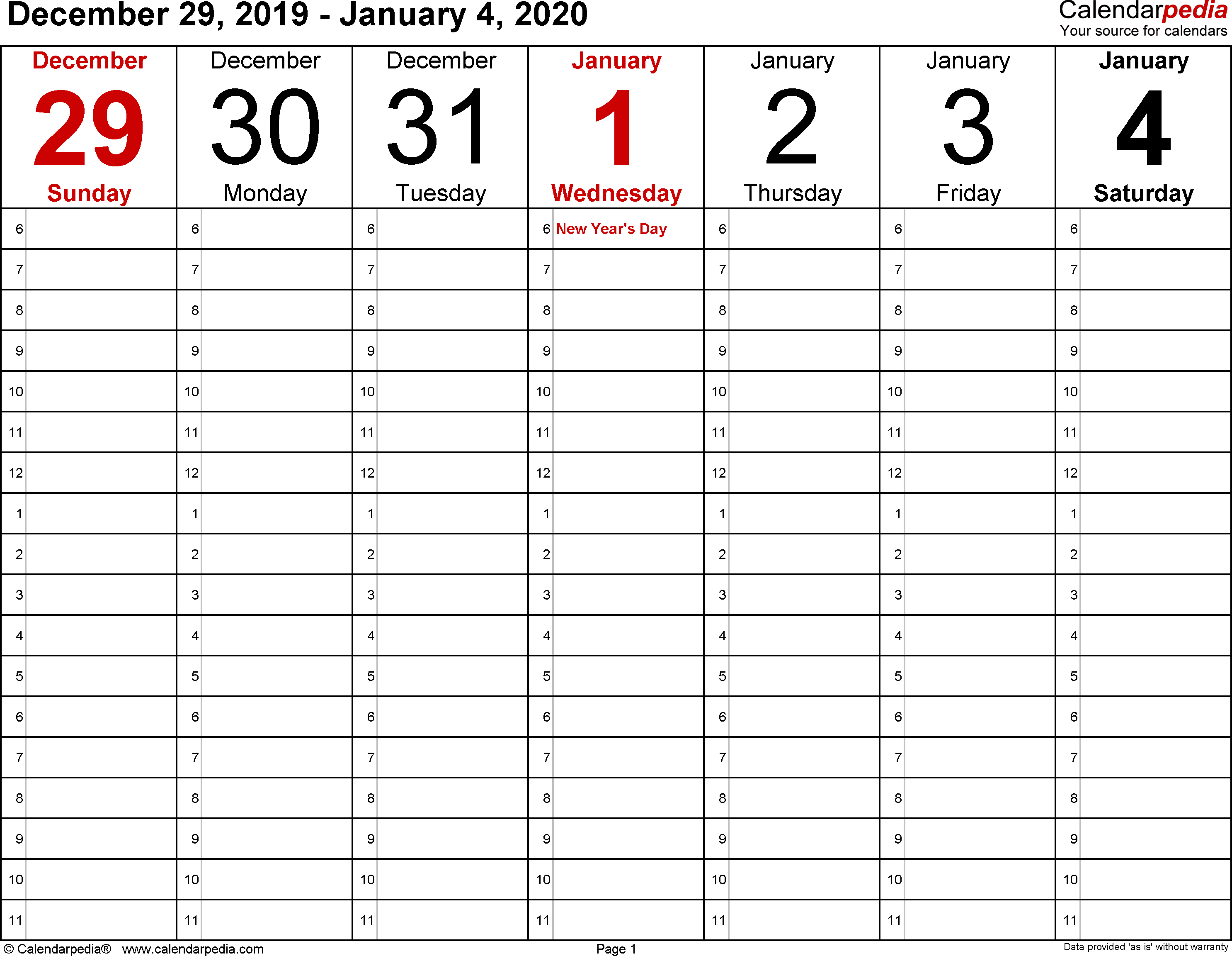 January 2020 Weekly Calendar | Calendar 2019 Template