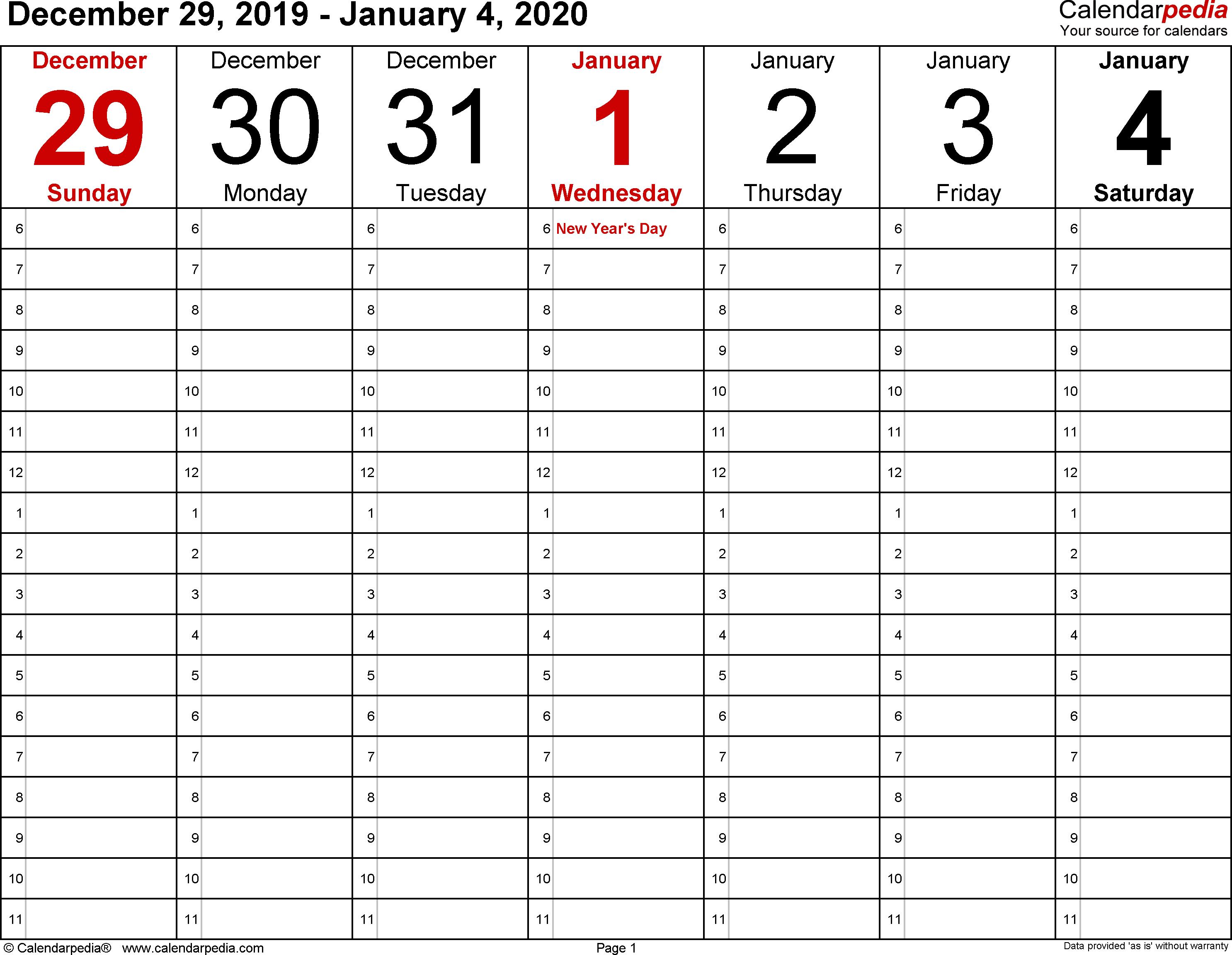 January 2020 Weekly Calendar   Calendar 2019 Template