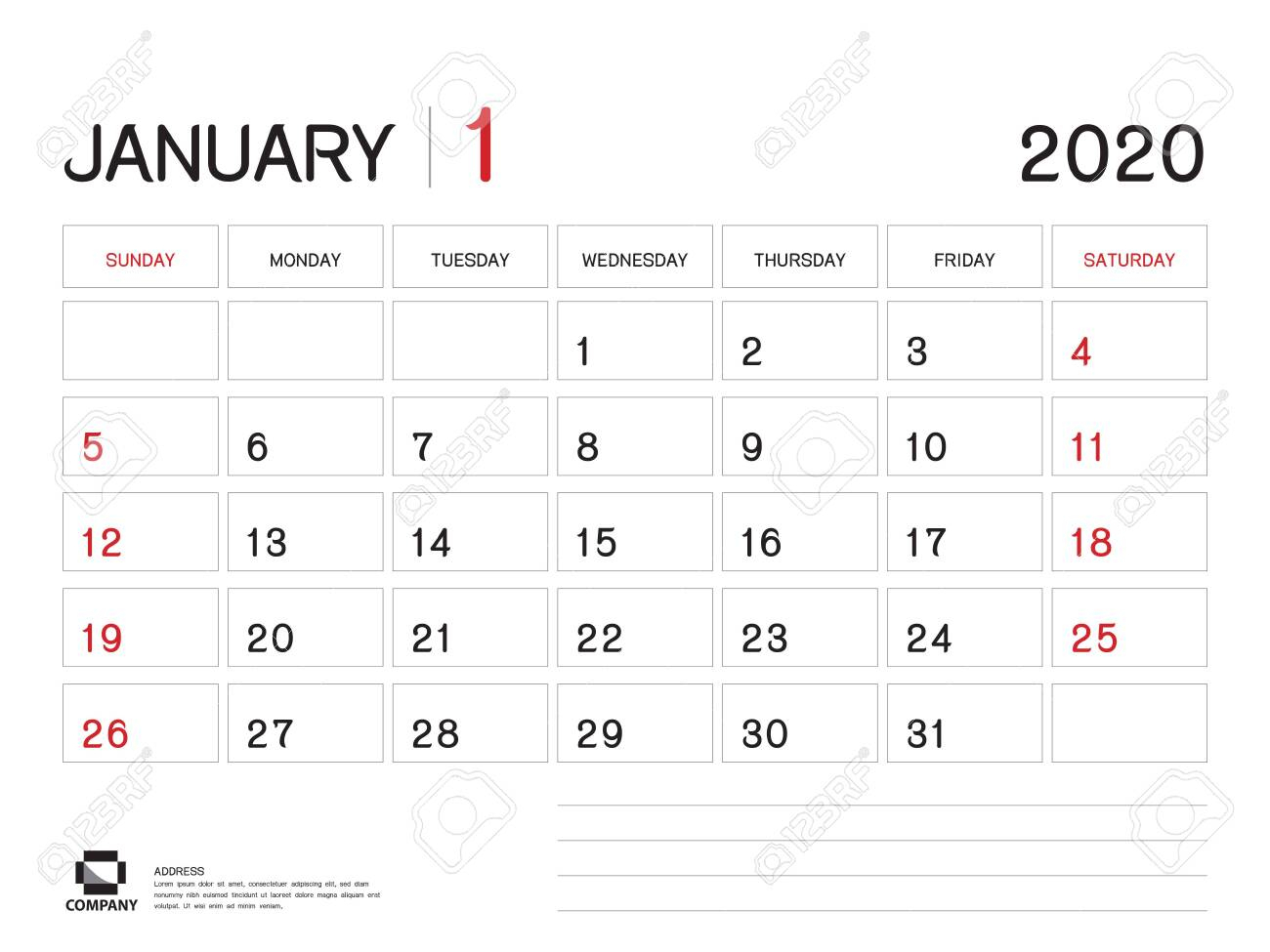 January 2020 Year Template, Calendar 2020, Desk Calendar Design,..
