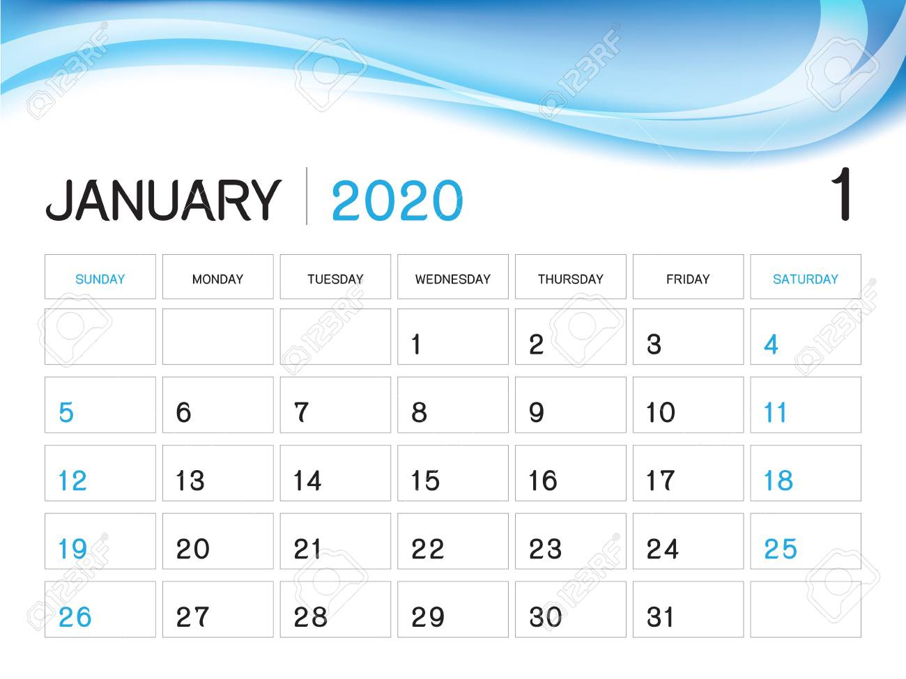 January 2020 Year Template, Calendar 2020 Vector, Desk Calendar..