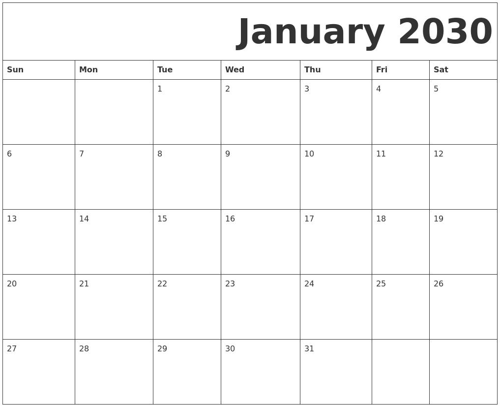 January 2030 Free Printable Calendar