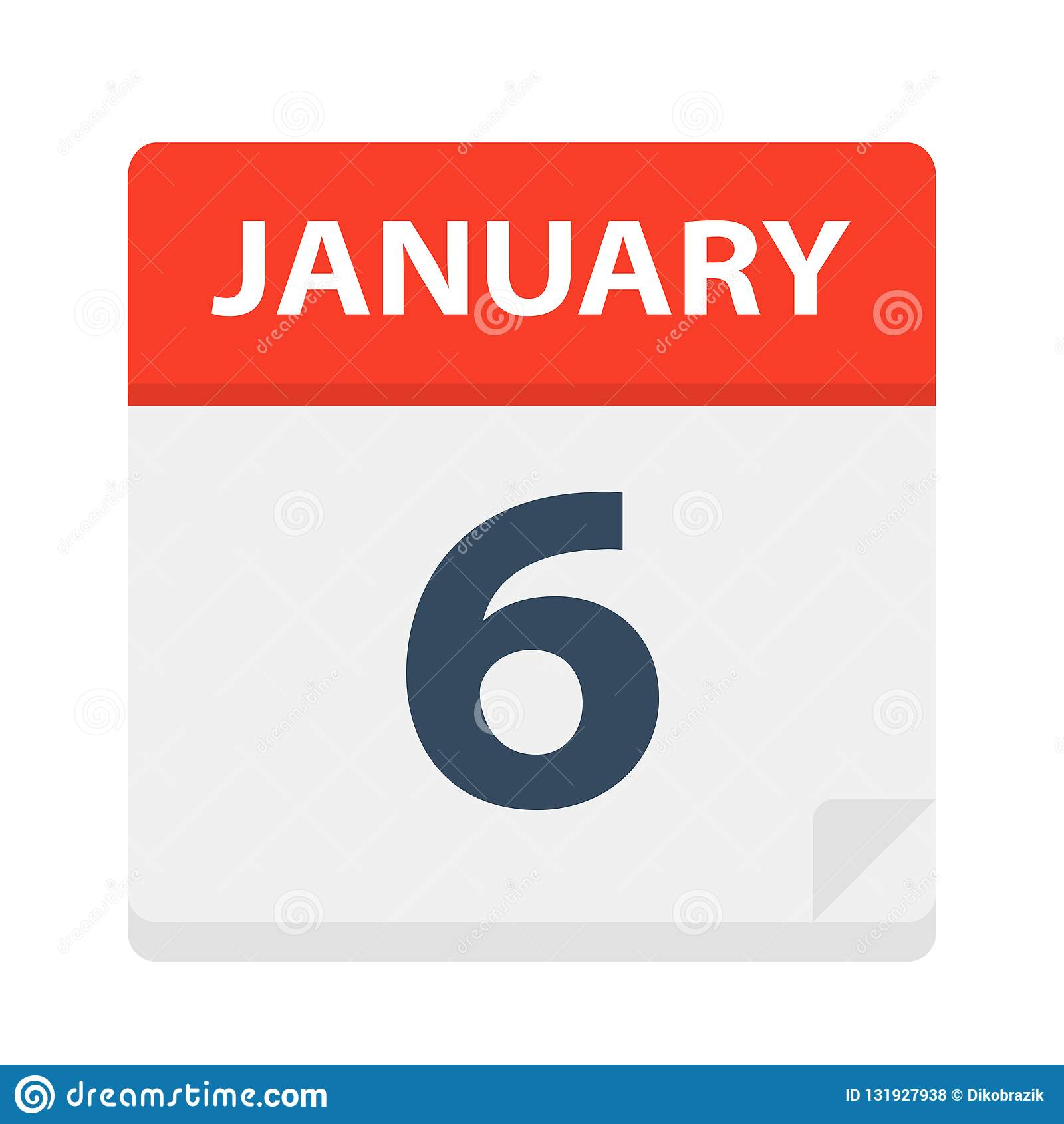 January 6 - Calendar Icon Stock Vector. Illustration Of 2020