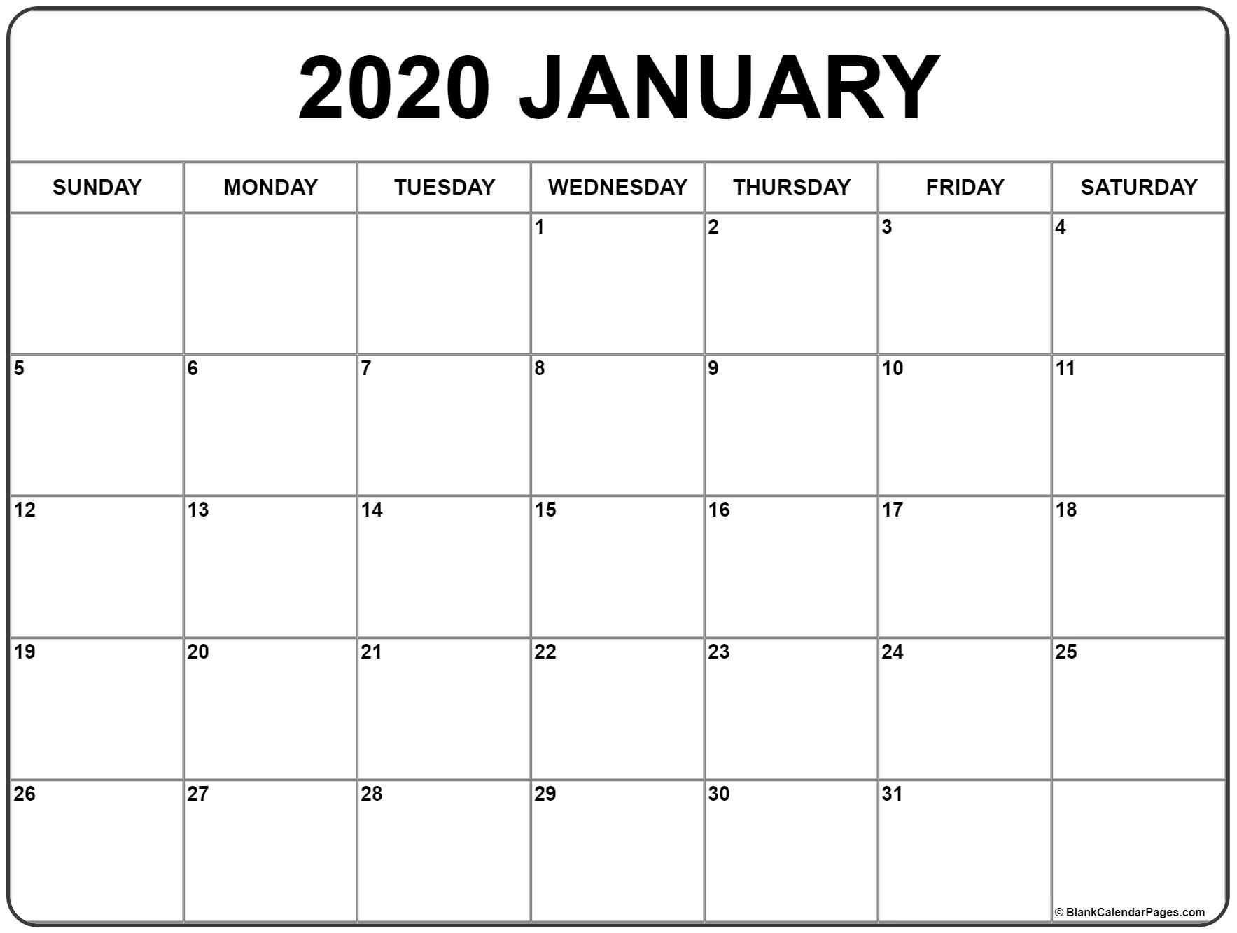 January Calendar 2020 Template - Wpa.wpart.co