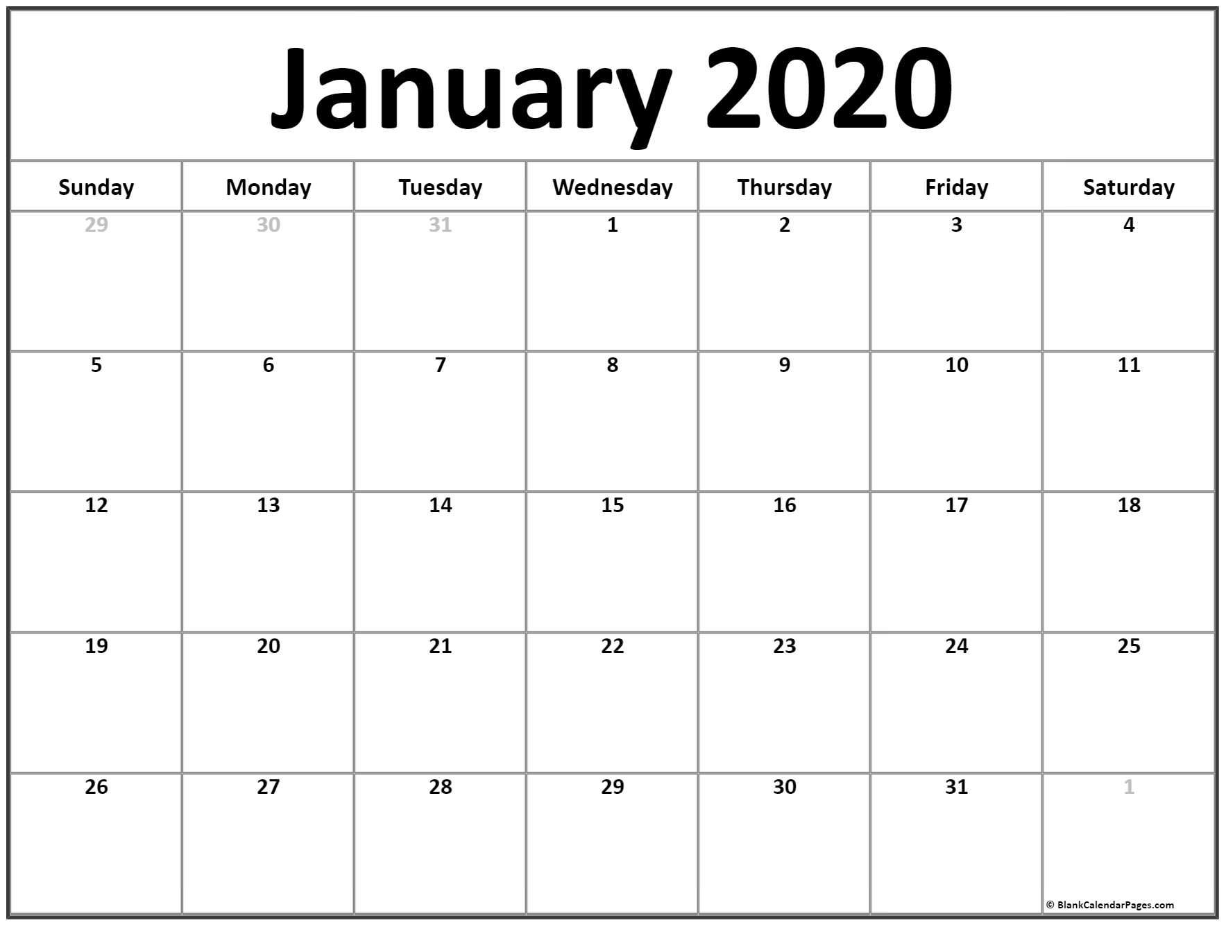 January Calendar 2020 Template - Wpa.wpart.co