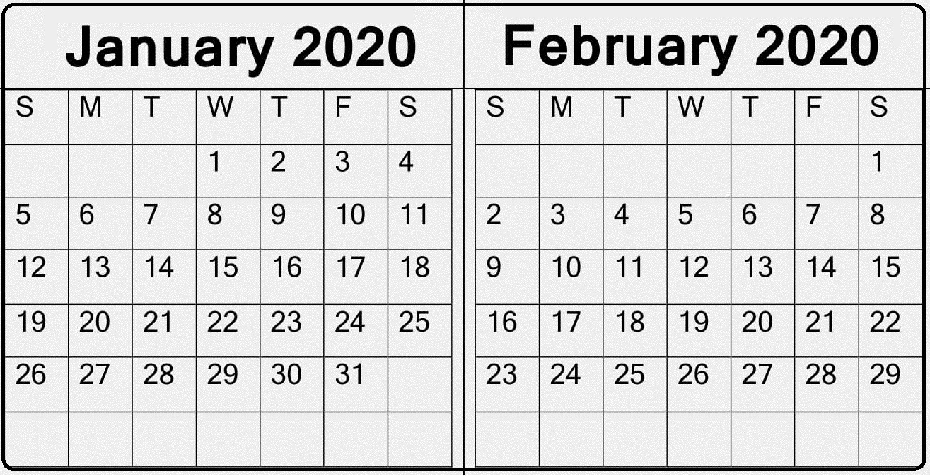 January February 2020 Calendar — Make A Plan For Two Month