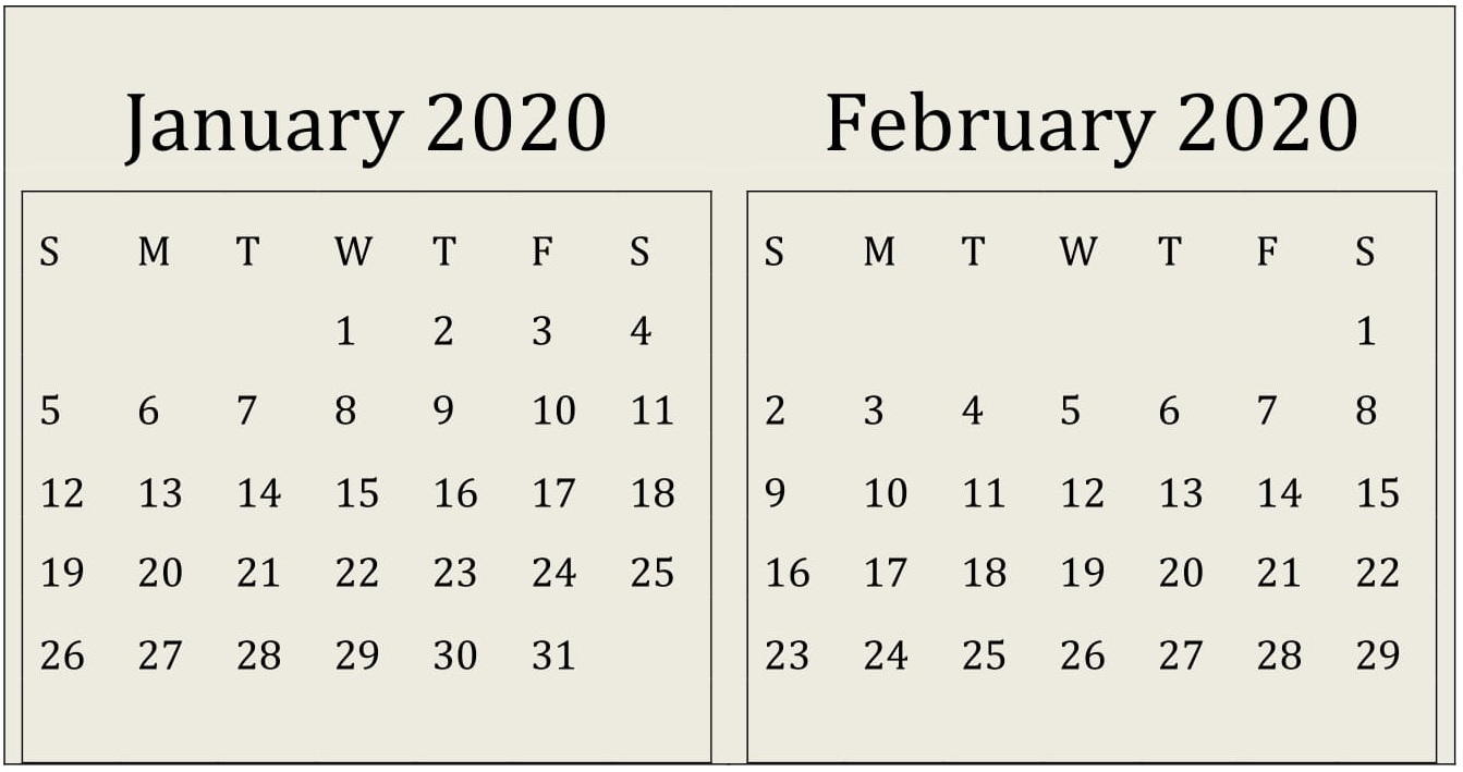 January February 2020 Calendar Print Online - Latest
