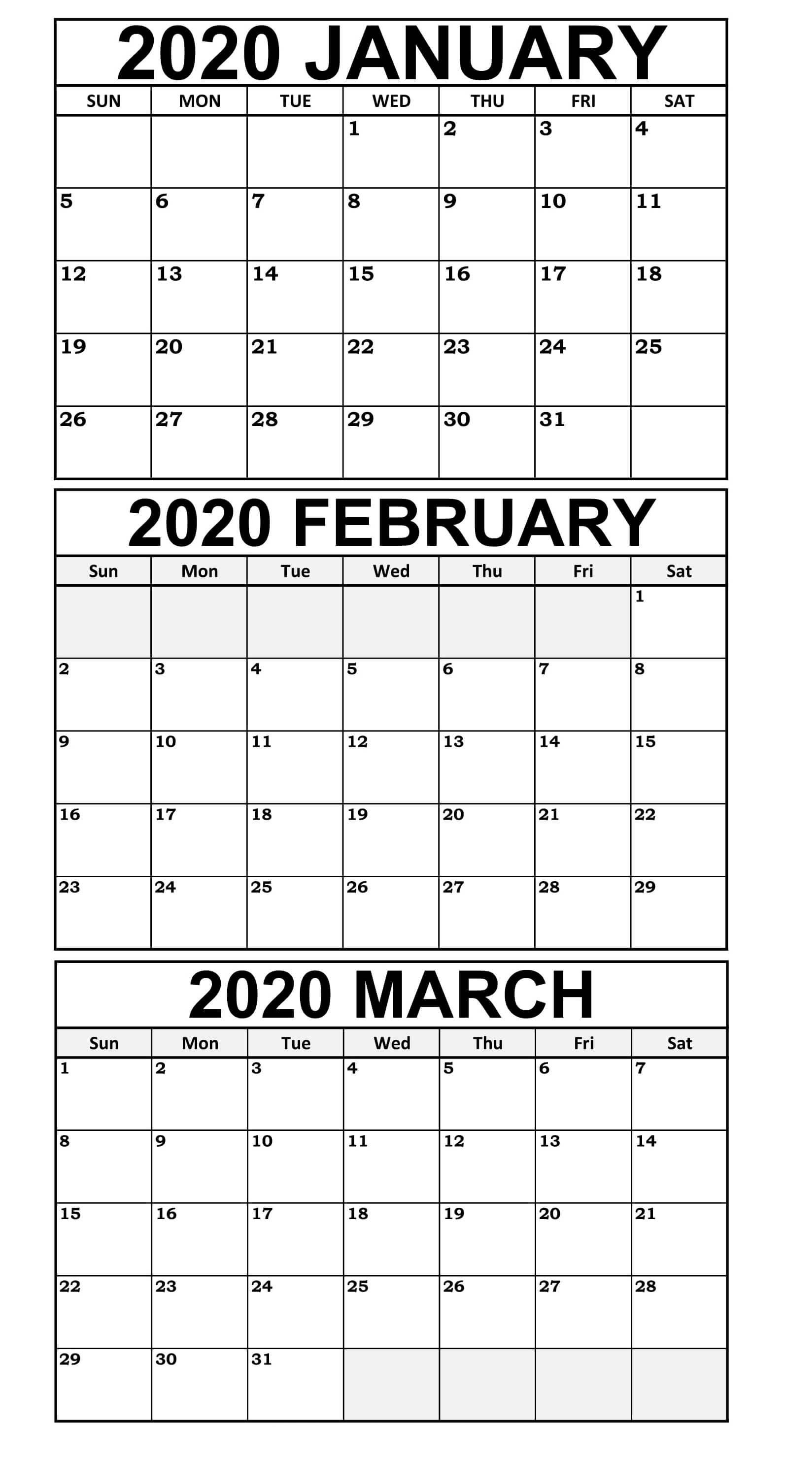 January March 2020 Calendar Template Free Download | 12