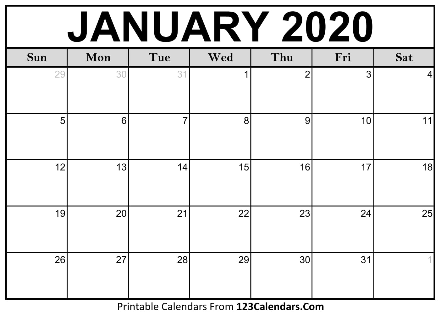 January Printable Calendars - Wpa.wpart.co