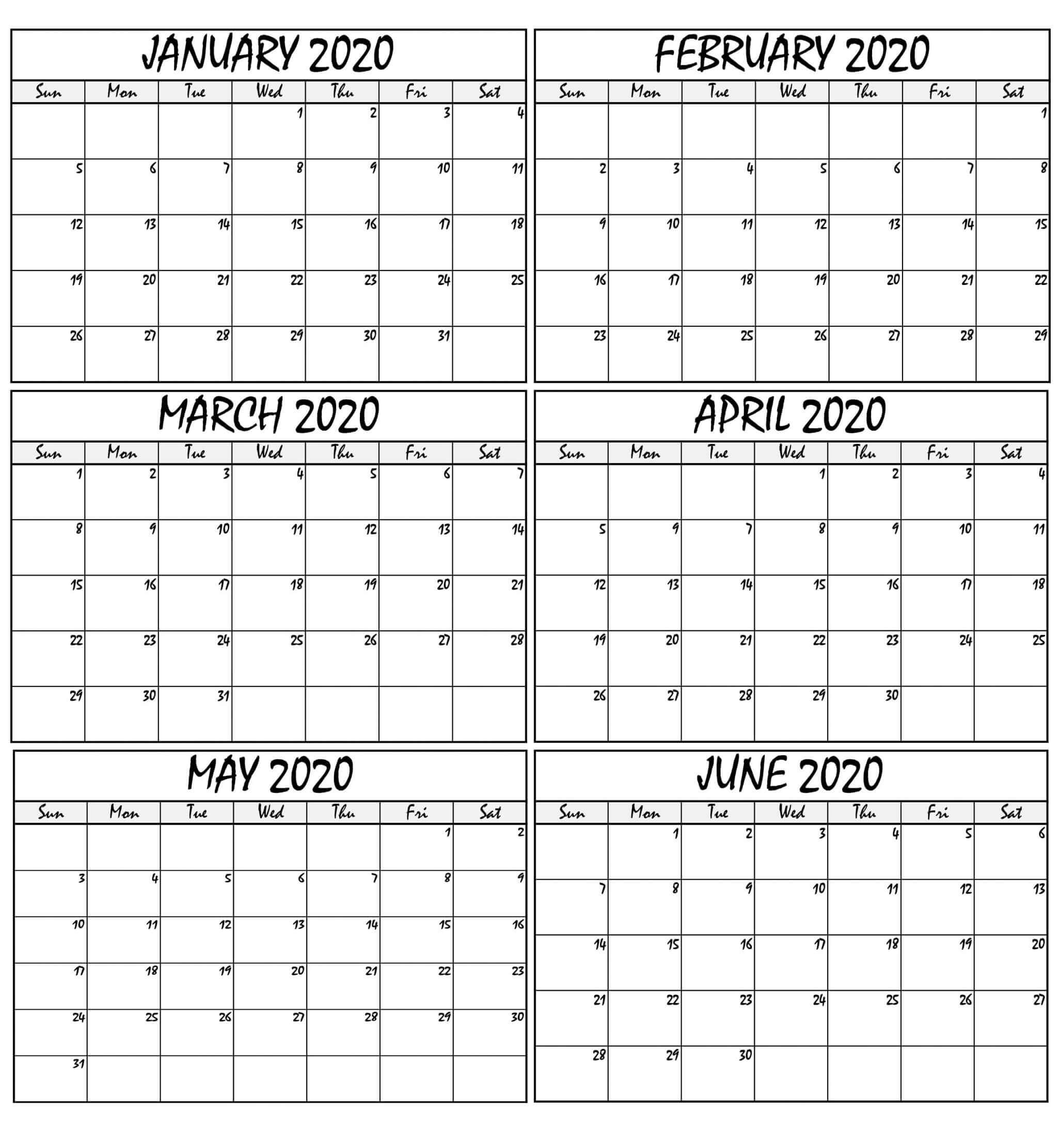 January To June 2020 Calendar Printable - 2019 Calendars For