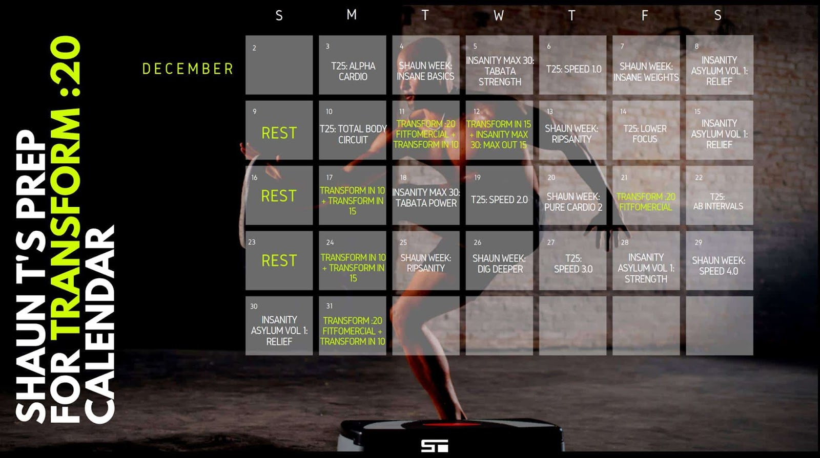 Jennifer Wood Fitness : Shaun T's Hybrid Calendar Schedule