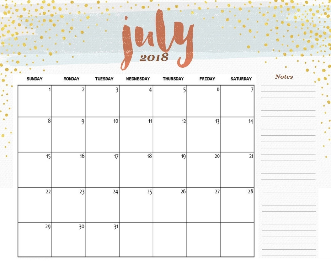 July 2018 Cute Calendar Printable - Free Printable Calendar