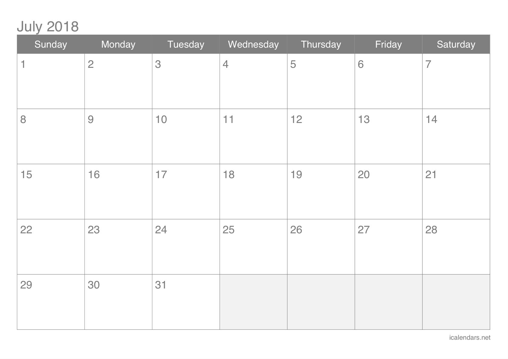 July 2018 Printable Calendar - Icalendars