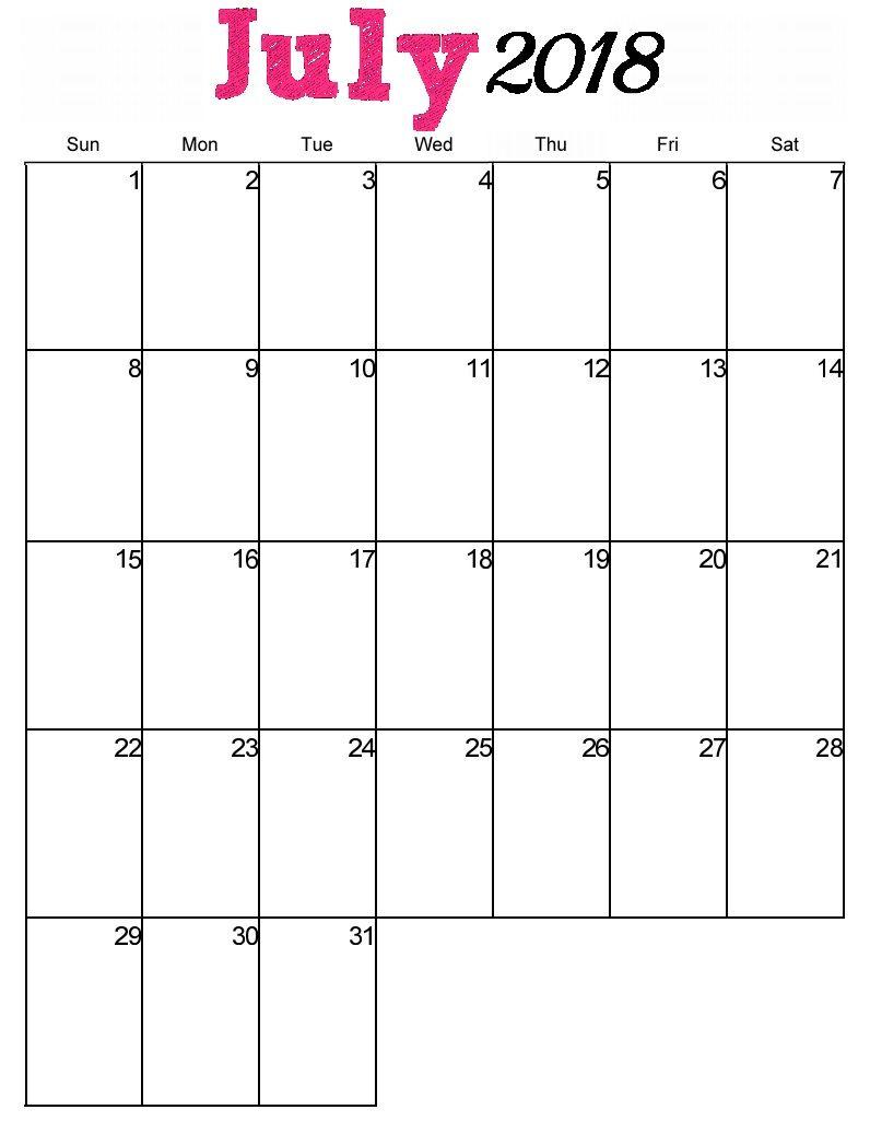 July 2018 Vertical Wall Calendar | 2018 Calendar Printable