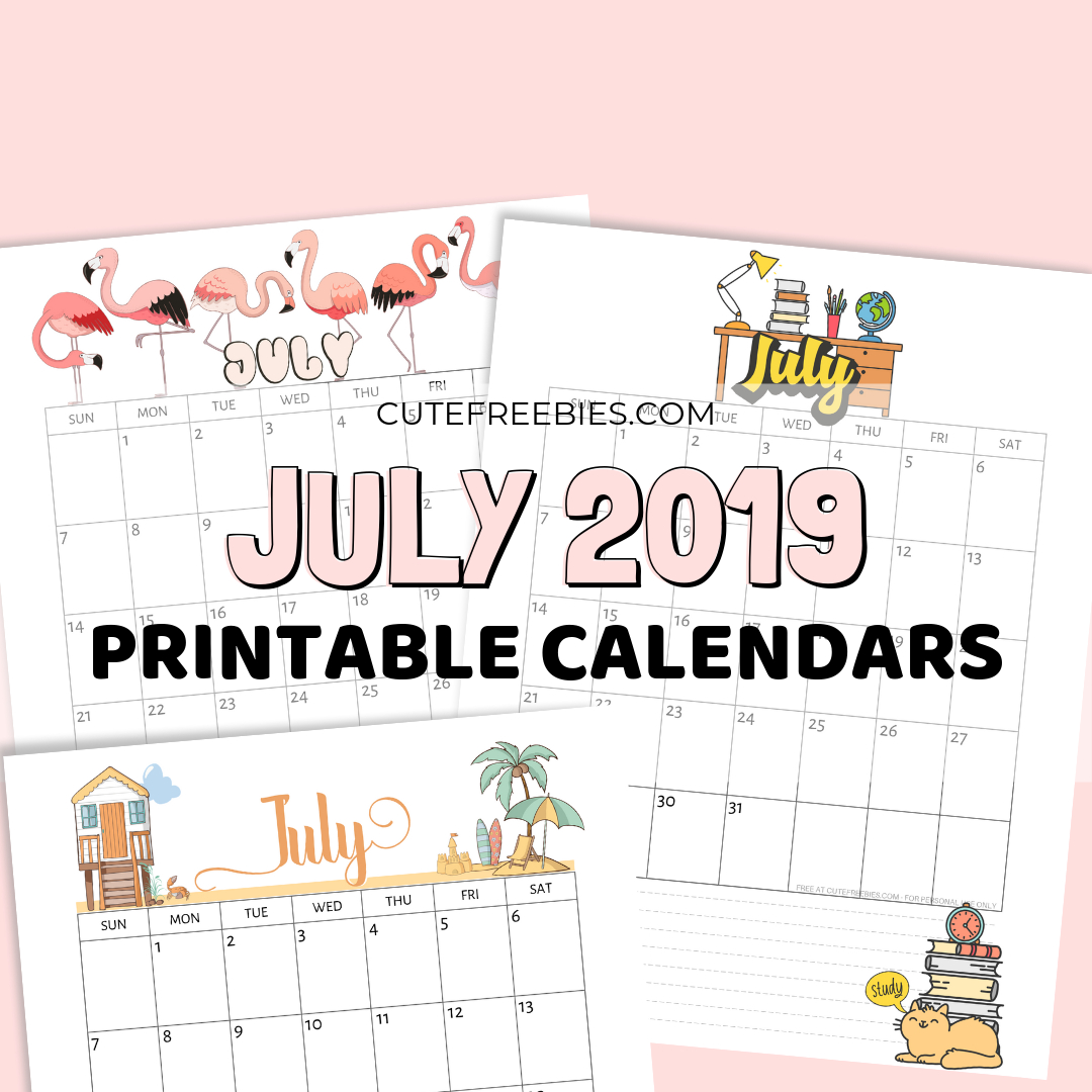 July 2019 Calendar Free Printable With Bujo Themes - Cute