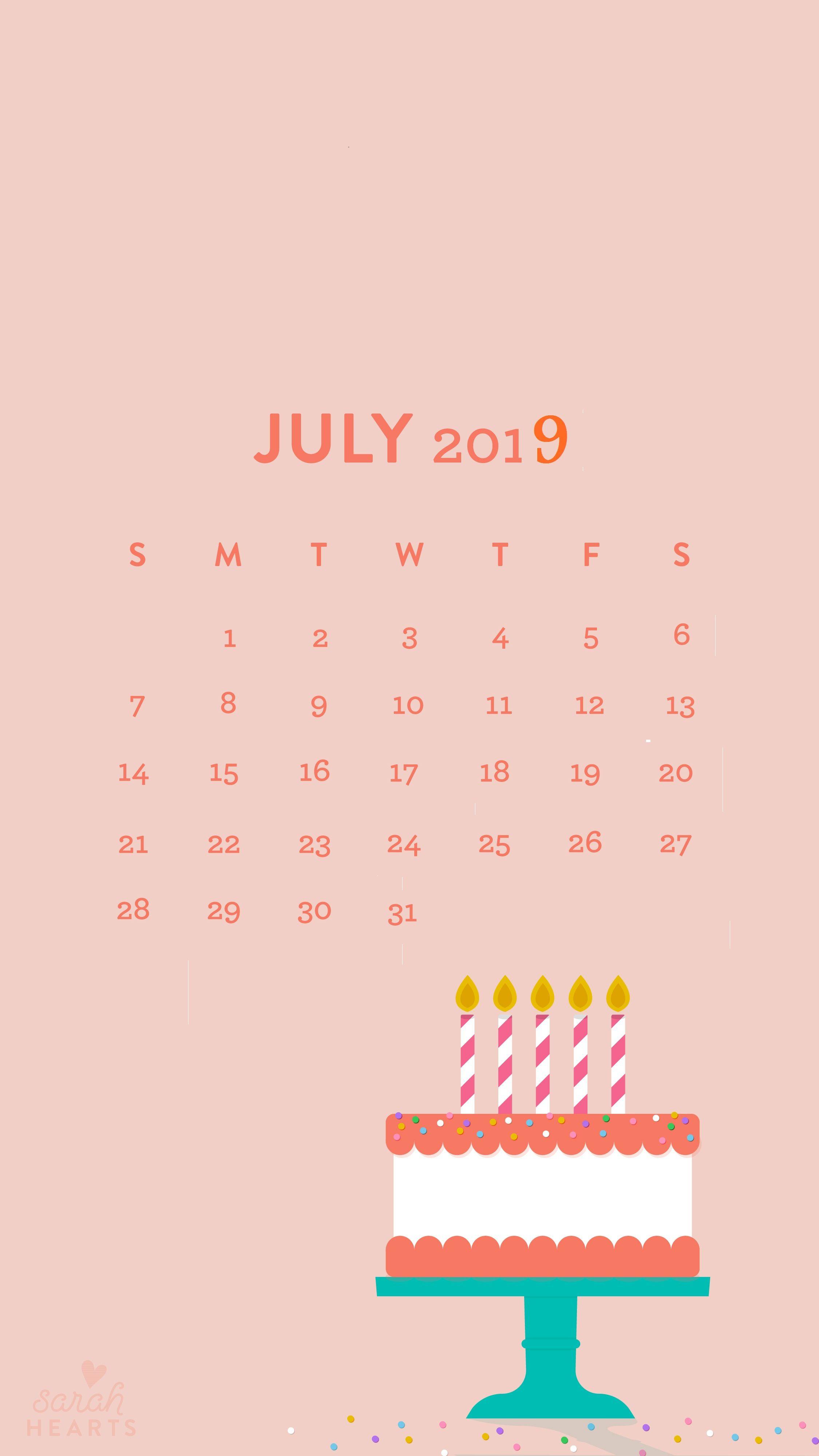 July 2019 Iphone Calendar Wallpaper In 2019 | Calendar